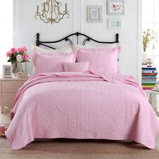 100% Cotton Coverlet / Bedspread Set King / Super King Size Bed 240x270cm Pink