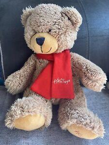 Beautiful Hamleys Teddy Bear with Hamleys Red Scarf Very Soft Brown Bear New