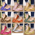 Women Leather Comfort Casual Walking Bowed Flat Shoes Loafers Moccasin Pierced H