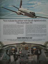 1982 PUB AVION SAAB FAIRCHILD 340 AIRCRAFT DIGITAL AVIONICS COCKPIT ORIGINAL AD