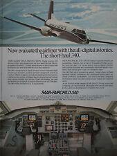 1982 PUB AVION SAAB FAIRCHILD 340 AIRCRAFT DIGITAL AVIONICS COCKPIT ORIGINAL AD