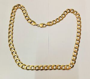 """""""Large Gents 9ct Yellow Gold Kerb Chain 21.5"""" Length Heavy 62.4g"""