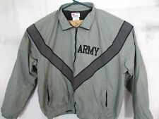 US ARMY JACKET REFLECTIVE GRAY PT  IPFU FITNESS UNIFORM WINDBREAKER LARGE
