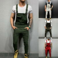 Mens Carpenter Work Fitness Denim Overalls Casual Bib Pants Jumpsuit Suspenders