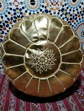 Moroccan Pouf gold Moroccan faux leather pouf ottoman footstool handmade pouf