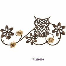 Bronze Owl Metal Wall Decor w/ Burlap Flowers    Collectible Owl Home Decor