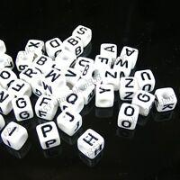 100Pcs White Square Alphabet Letter Acrylic Plastic Beads 7MM A-Z DIY Jewellery
