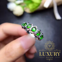 Natural Diopside 6 Gemstones Solid 925 Sterling Silver Punk Style Women Rings
