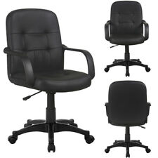 3x Executive Black Leather Office Chairs PC Computer Desk Swivel Adjustable Seat