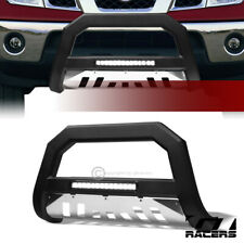 For 2005-2019 Nissan Frontier/Xterra Matte Blk/SS Skid AVT Aluminum LED Bull Bar