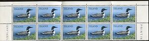 Block of 10 1967 Iceland Stamps 388 Cat Value Gavia Immer Common Loon