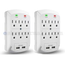 2X 6 OUTLET SURGE PROTECTOR GROUNDING WALL TAP 2 USB PORTS 2.1A ADAPTER CHARGER