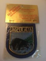 New Vintage Jasper Alberta Self Adhesive Sew On Patch Bear Trout Canada NOS