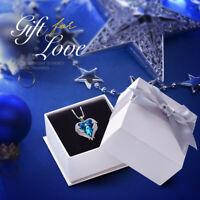 Halskette Herz Anhänger Schutzengel Flügel mit SWAROVSKI® Kristall 18K Weißgold