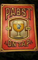 "PABST BLUE RIBBON BEER PUB BAR SIGN ""PABST ON TAP"" For Your Man Cave,27-1/2""x21"""