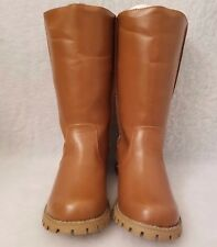 Miss Me? NWOB Womens Brown Patchwork Boots Chunk Heel Shoes Size 8