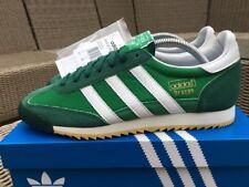 Adidas Dragon Vintage Vert & Blanc Taille 8 80 S Retro Football Entièrement neuf dans sa boîte DEADSTOCK