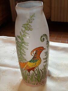 Très beau vase signé leg pour legras à décor de fougères et faisan