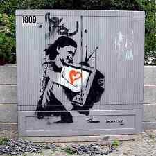 Banksy Girl Love Tv Cabinet A4 Sign Aluminium Metal