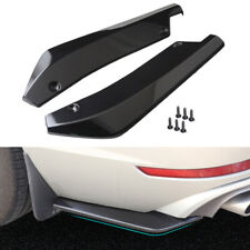 2x Universal Gloss Black Rear Bumper Lip Winglets Side Skirt Extensions Canard
