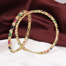 Indian Bollywood Gold Tone CZ American Diamonte Multi Color Bangle Bracelet Set