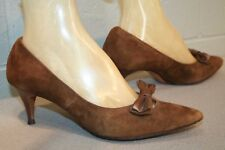 7.5 B Vtg 1960s Risque' Shoe Brown Suede Mary Jane Bow Pinup Spike Heel 50s 60s