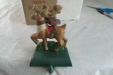 Eddie Bauer Christmas Stocking Hanger Reindeer Cast Iron Mantle
