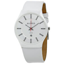 Skagen White Dial Ceramic Case Leather Band Unisex Watch 233XLCLW