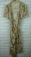 Collette Dinnigan Wrap Dress Brown, Cream Floral Print 100% Silk Jersey Sz XL