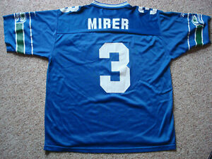 Reebok Seattle Seahawks Rick Mirer Jersey - Pro Line Blue Vintage - Mens Size XL
