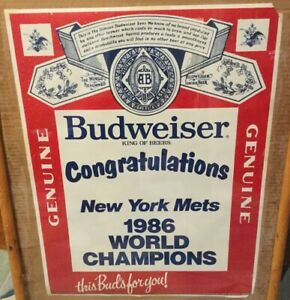 VINTAGE BUDWEISER NEW YORK METS 1986 WORLD CHAMPIONS FAN GIVEAWAY POSTER!