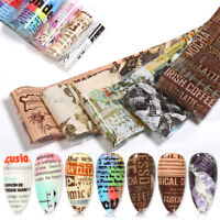 10Pcs Zeitung Nagel Folien Aufkleber Nail Art Transfer Stickers Paper Nail Art