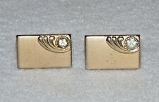 Gorgeous Vintage SWANK Gold Tone Flat Rectangular w/ Clear Stone Mens Cufflinks