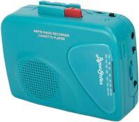 Cassette Player FM/Am Portable Cassette, Tape Mic Recorder, Blue