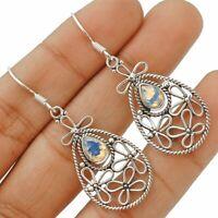 Filigree Fire Opalite 925 Solid Sterling Silver Earrings Jewelry, ED26-9