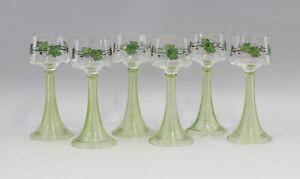 99835406 Satz 6 Wein-Gläser Jugendstil um 1900 bemalt wohl Böhmen