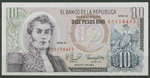 Kolumbien 10 Pesos 7.8.1980, KM 407 g kassenfrisch (K541)