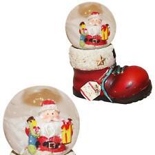 Decorazione Di Natale Mini Babbo Stivale Palla Di Vetro Con Neve - 45mm
