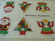 Christmas Ornaments Set 6 Large Calico Stuffed Soft  DIY Cranston Sewing Panel