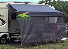 RV Awning Shade by Easyshade RV Sun Blockers Sun Screen Black 15ft x 7ft Drop