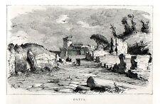 Stampa antica veduta di OSTIA antica presso Roma 1880 Old print Rome