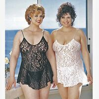 Plus Size Lingerie 1X 2X 3X or 4X Ivory or White Lace Chemise   SOHX3380