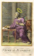 "Burkitt's Expository ""ST. LUKE the EVANGELIST"" - Hand-Colored Engraving -1752"
