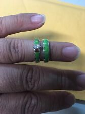 Native American Womens Navajo Gaspeite Wedding Band Set Ring Size 9 Wow Stunning