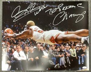 Dennis Rodman Signed Photo 16x20 Bulls Auto Worm 7x Rebound Inscription HOF JSA2