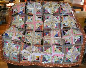 """QUILT TOP-SCRAPPY Log Cabins-Multitude of Colors of 1 1/2"""" Strips, 58"""" Sq-0925B"""