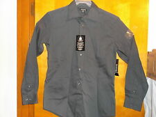NEW  MEN'S GEORGE DARK GREY DRESS SHIRT..SIZE SMALL ..34-36   LONG SLEEVE