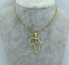 Africa Flag Map 18k Gold Necklace Pendant & Chain Small Heart African UK