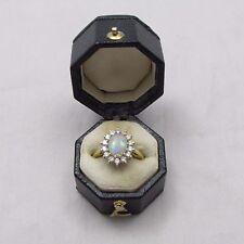 Superba VINTAGE 18CT Opale d'Oro E Diamante Grappolo Anello Dimensione G 1/2