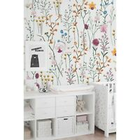 Wild flowers removable wallpaper Garden wall mural Watercolor Bright Colorful